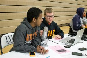 James Williams (left) talking to Tiger Talk co-host, Tim Cornell during a live broadcast.